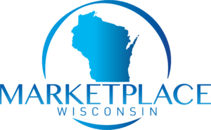 Logo for MARKETPLACE Wisconsin, in blue